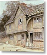 Outside A Timbered Cottage Metal Print