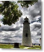 Overcast Clouds At Turkey Point Lighthouse Metal Print