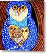 Owl And Owlettes Metal Print