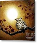 Owl In Maple Leaves Metal Print