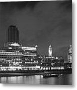 Oxo Tower Night  Bw Metal Print