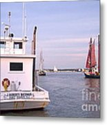 Oyster Boat On The River  Metal Print
