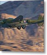 P-38 Gear Up Metal Print by Tim Mulina