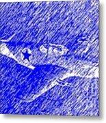 P 51 Mustang Flying In The Rain Metal Print