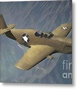 P 51 Mustang On A Mission Metal Print