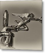 Packard Angel Hood Ornament In Sepia Metal Print