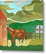 Paint Pony At Red Schoolhouse Metal Print