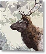 Painted Bull Elk Metal Print