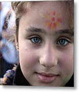 Painted Face At 1st Nativity International Christmas Festival Metal Print