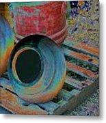 Painted Pots Pallet Metal Print