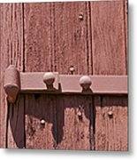 Painted Red Iron Hinge On A Red Barn Door Metal Print