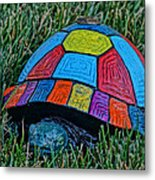 Painted Turtle Sprinkler Metal Print