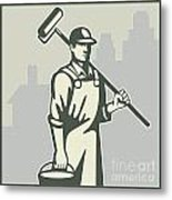 Painter Paint Roller Worker House Retro Metal Print