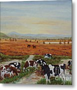 Painting Cows On Cors Caron Tregaron Metal Print