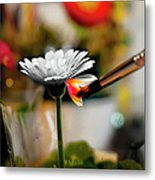 Painting Flowers With Paint Brush Metal Print