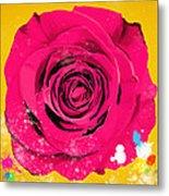 Painting Of Single Rose Metal Print