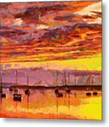 Painting With Boats At Sunset Tnm Metal Print