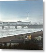 Palace Pier And Shoreham Power Station Metal Print