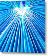 Palm Frond In Blue Metal Print