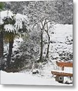 Palm Tree And A Bench With Snow Metal Print