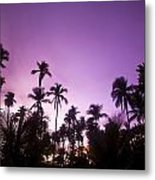 Palm Trees At Dusk, Malaysia, Southeast Metal Print