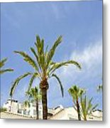 Palm Trees In The Blue Metal Print