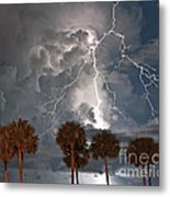 Palms And Lightning  Metal Print