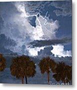 Palms And Lightning 4 Metal Print