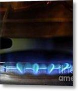 Pan On Lit Blue Gas Ring Metal Print