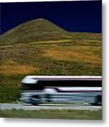 Panned View Of A Bus On Interstate 15 Metal Print