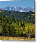 Panorama Scenic Autumn View Of The Colorado Indian Peaks Metal Print