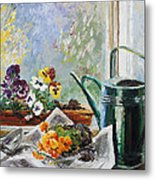 Pansies For My Window Box Metal Print by Barbara Pommerenke