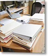 Paperwork On An Office Desk Metal Print by Jetta Productions, Inc