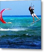 Para Surfing In Cozumel Mexico Metal Print