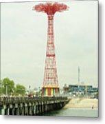 Parachute Jump At Coney Island, New York Metal Print