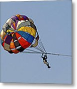 Paraglider Blue Metal Print by Kantilal Patel