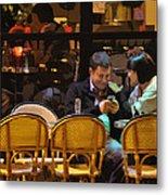 Paris At Night In The Cafe Metal Print