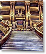 Paris Opera House Vii  Grand Stairway Metal Print