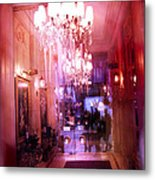 Paris Posh Pink Red Hotel Interior Chandelier Metal Print by Kathy Fornal
