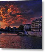Paris Sundown Metal Print