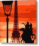 Paris Tour Eiffel Red Metal Print