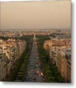 Paris View At Sunset Metal Print