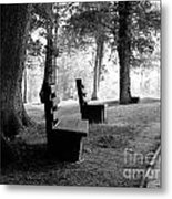 Park Bench In Black And White Metal Print