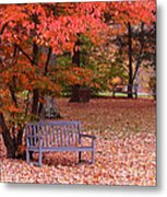 Park Bench In Fall Metal Print