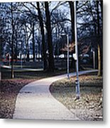 Park Path At Dusk Metal Print