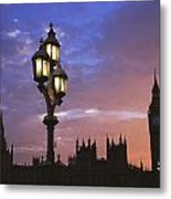 Parliament And Light At Sunset Metal Print