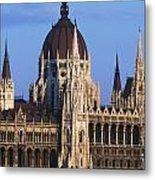 Parliament Buildings On River Danube Metal Print