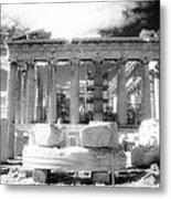 Parthenon Infrared Metal Print