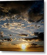 Partly Cloudy Skies At Sunset Metal Print