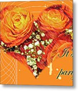 Party Invitation - Orange Roses Metal Print